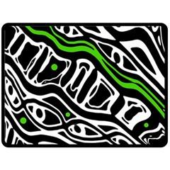 Green, black and white abstract art Double Sided Fleece Blanket (Large)