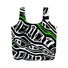 Green, black and white abstract art Full Print Recycle Bags (M)