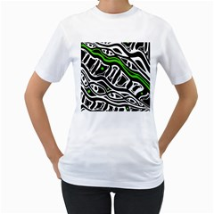 Green, black and white abstract art Women s T-Shirt (White)