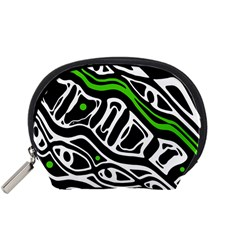 Green, black and white abstract art Accessory Pouches (Small)