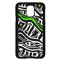 Green, black and white abstract art Samsung Galaxy S5 Case (Black)