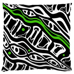 Green, black and white abstract art Standard Flano Cushion Case (One Side)