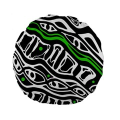 Green, black and white abstract art Standard 15  Premium Flano Round Cushions