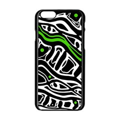 Green, black and white abstract art Apple iPhone 6/6S Black Enamel Case