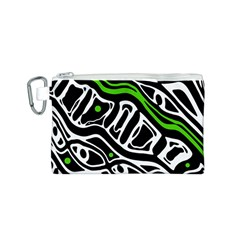 Green, black and white abstract art Canvas Cosmetic Bag (S)