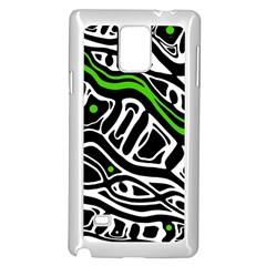 Green, black and white abstract art Samsung Galaxy Note 4 Case (White)