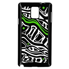 Green, black and white abstract art Samsung Galaxy Note 4 Case (Black)