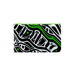 Green, black and white abstract art Cosmetic Bag (XS)