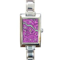 Purple and green abstract art Rectangle Italian Charm Watch