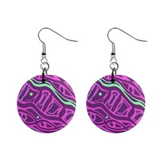 Purple and green abstract art Mini Button Earrings