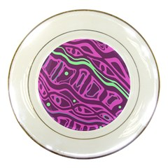 Purple and green abstract art Porcelain Plates