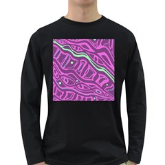 Purple and green abstract art Long Sleeve Dark T-Shirts