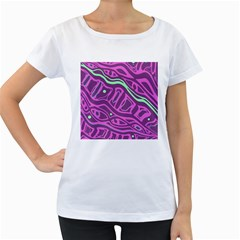 Purple and green abstract art Women s Loose-Fit T-Shirt (White)