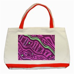 Purple and green abstract art Classic Tote Bag (Red)