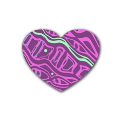 Purple and green abstract art Rubber Coaster (Heart)