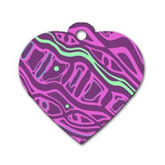 Purple and green abstract art Dog Tag Heart (Two Sides)