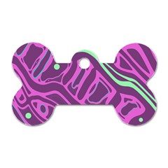 Purple and green abstract art Dog Tag Bone (One Side)