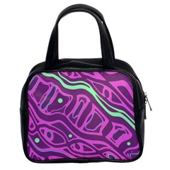 Purple and green abstract art Classic Handbags (2 Sides)