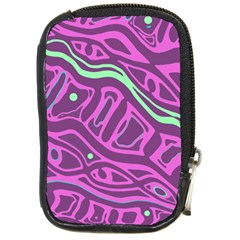 Purple and green abstract art Compact Camera Cases