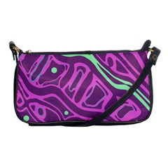 Purple and green abstract art Shoulder Clutch Bags