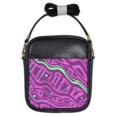 Purple and green abstract art Girls Sling Bags