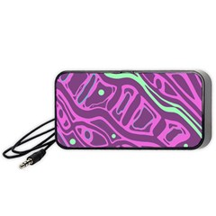 Purple and green abstract art Portable Speaker (Black)