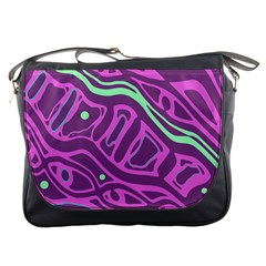 Purple and green abstract art Messenger Bags