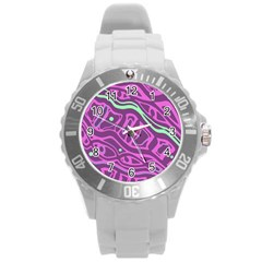Purple and green abstract art Round Plastic Sport Watch (L)