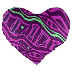 Purple and green abstract art Large 19  Premium Heart Shape Cushions