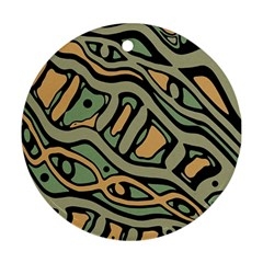 Green abstract art Ornament (Round)