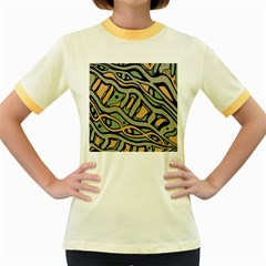 Green abstract art Women s Fitted Ringer T-Shirts