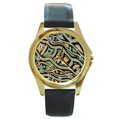 Green abstract art Round Gold Metal Watch