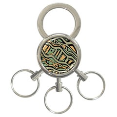 Green abstract art 3-Ring Key Chains