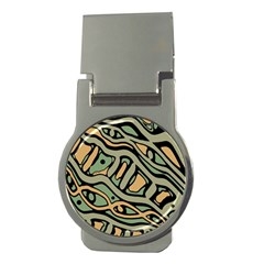 Green abstract art Money Clips (Round)
