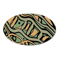 Green abstract art Oval Magnet