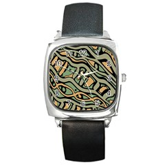 Green abstract art Square Metal Watch