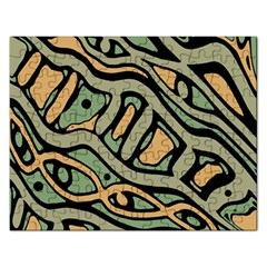 Green abstract art Rectangular Jigsaw Puzzl
