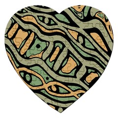 Green abstract art Jigsaw Puzzle (Heart)