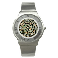 Green abstract art Stainless Steel Watch