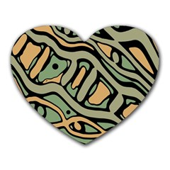 Green abstract art Heart Mousepads