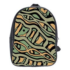Green abstract art School Bags(Large)