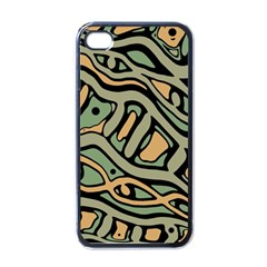 Green abstract art Apple iPhone 4 Case (Black)