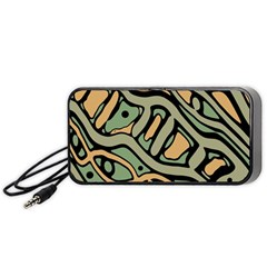 Green abstract art Portable Speaker (Black)