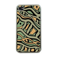 Green abstract art Apple iPhone 4 Case (Clear)