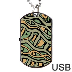 Green abstract art Dog Tag USB Flash (Two Sides)
