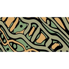 Green abstract art YOU ARE INVITED 3D Greeting Card (8x4)