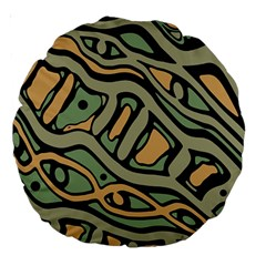Green abstract art Large 18  Premium Round Cushions