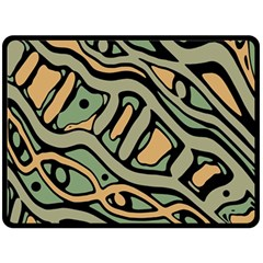 Green abstract art Double Sided Fleece Blanket (Large)