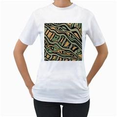 Green abstract art Women s T-Shirt (White)