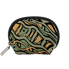 Green abstract art Accessory Pouches (Small)